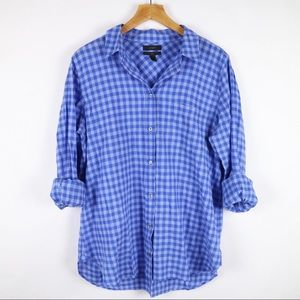 "J. Crew blue ""boy"" button up gingham shirt 10"